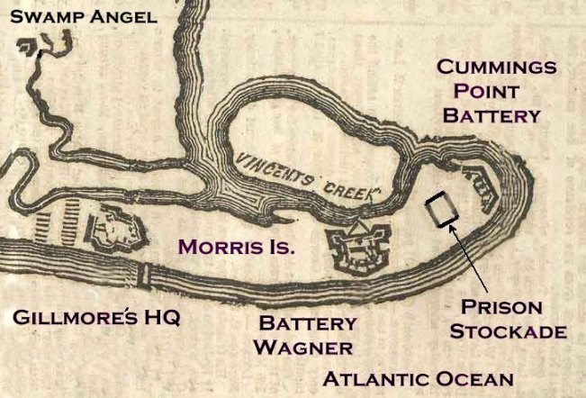 MAP OF MORRIS ISLAND SHOWING CONFEDERATE PRISON PEN